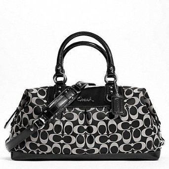 Coach Signature Large Ashley Sateen Large Satchel Convertible Bag F15440 Black with White $264.52