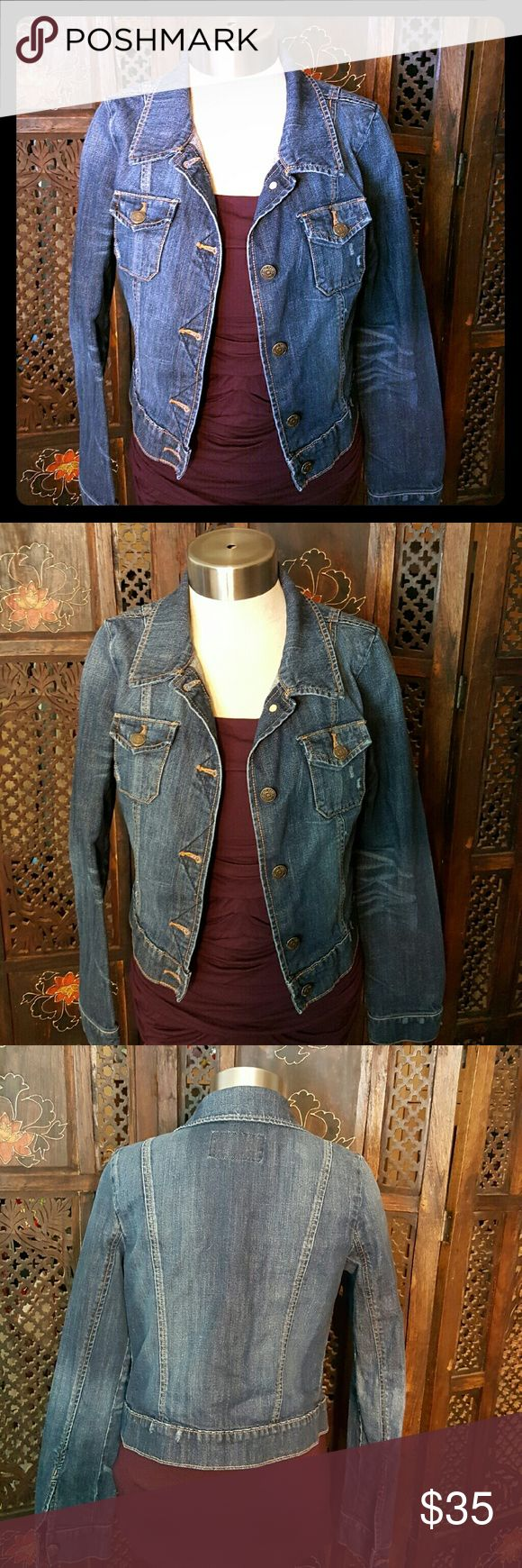 Perfect Old Navy Jean Jacket I love this jean jacket so much, but barley got to wear it, because a gained a ton of weight and  it no linger fits me! My gain is your gain too! It has a small amount of manufactured distress marks on the pocket. Old Navy Jackets & Coats Jean Jackets