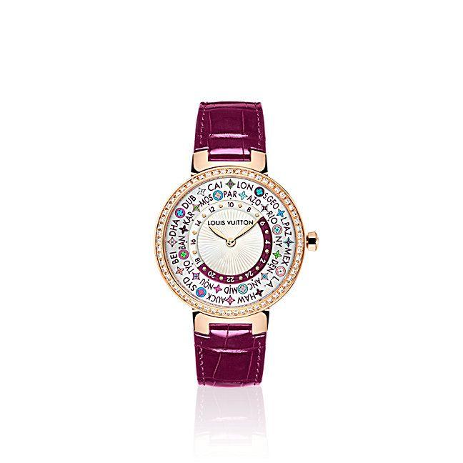 Tambour Monogram Time Zone  Mujer Relojes y Joyería  | LOUIS VUITTON