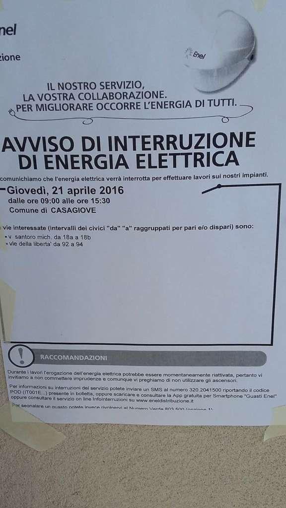 Lavori Enel a Casagiove, giovedì 21 aprile l'interruzione della corrente elettrica: ecco le strade interessate a cura di Redazione - http://www.vivicasagiove.it/notizie/lavori-enel-casagiove-venerdi-4-marzo-linterruzione-della-corrente-elettrica-le-strade-interessate-2/