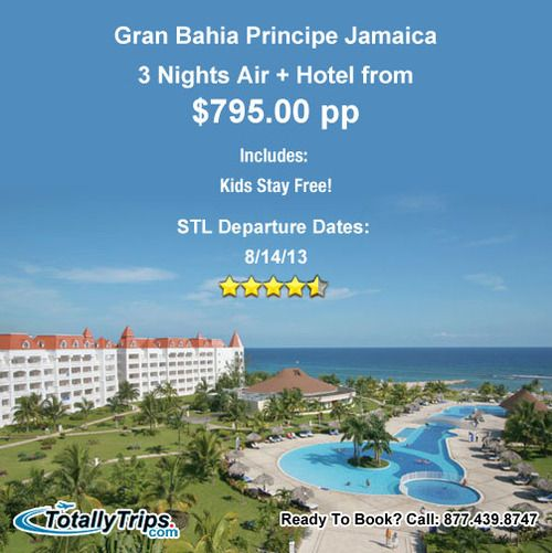 Gran Bahia Principe Jamaica, a 4.5 star resort, is on sale out of STL 3nts from $795pp. This offer features Kids Stay Free. Learn more at: http://www.totallytrips.com/last-minute-deals/