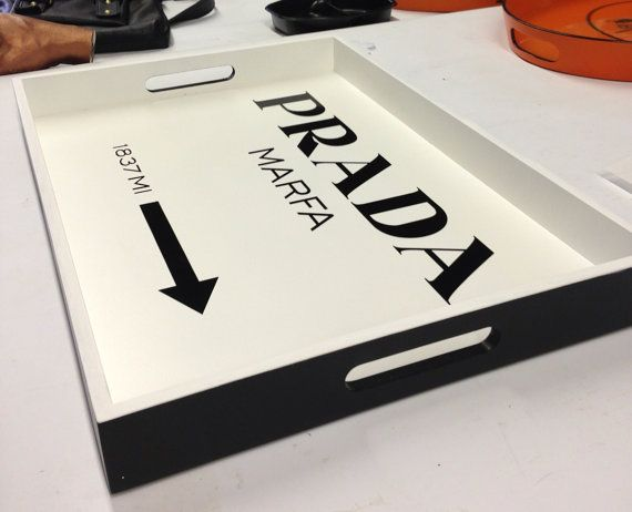 Hand Painted Prada Marfa Sign Tray by OohLaLaFinds on Etsy, $225.00