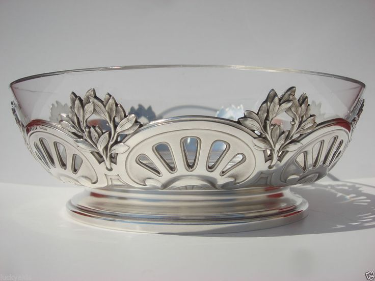 FRENCH CHRISTOFLE GALLIA SILVER PLATED PIERCED SCALLOPED OLIVE WREATH GLASS BOWL #French #Christofle #Gallia #Baccarat glass insert #SilverPlate #Openwork #Bowl #Center Bowl #Olive wreath