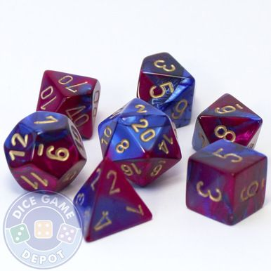 This set of Gemini dice is a mix of blue and purple colors and contains the following: 1 four-sided dice (d4) 1 six-sided dice (d6) 1 eight-sided dice (d8) 1 ten-sided dice (d10) 1 percentile dice (d%