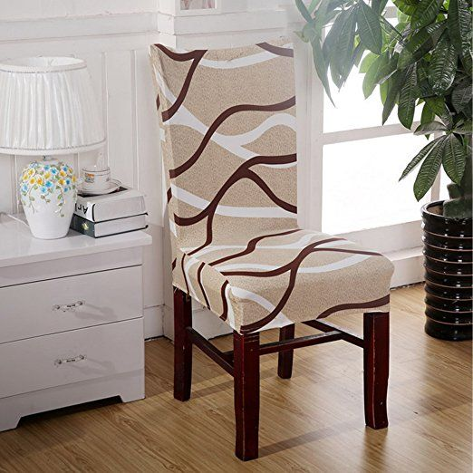 Sonicee Stretch Printed Chair Cover Dining Room Seat Cover Spandex Stretch  Wedding Banquet Party Decor (