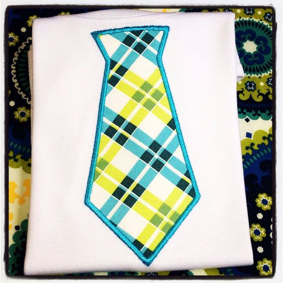 Appliquéd boys plaid tie t shirt or onesie by ChirpyChicky on Etsy, $24.00 Perfect for Spring Pictures!