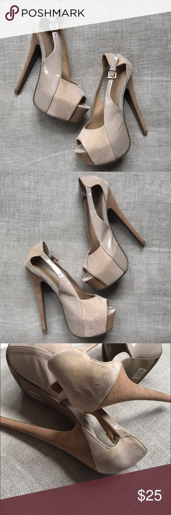Hidden Platform Stiletto Pumps Patent Leather Nude Hidden Platform Stiletto Pumps Patent Leather Nude   These show wear, please see pics. Unbranded, I purchased them years ago from a boutique in the U.K.  Marked Size 9, but fit more of a 8/8.5  Approx Measurements:  Heel Height - 6.5in Platform - 2in Unbranded Shoes Platforms