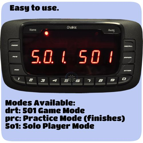Scoreboards - Compact Dart Scorer - Electronic Scoring System - Dartsmate - Chalkie - http://www.dartscorner.co.uk/product_info.php?cPath=489&products_id=68501