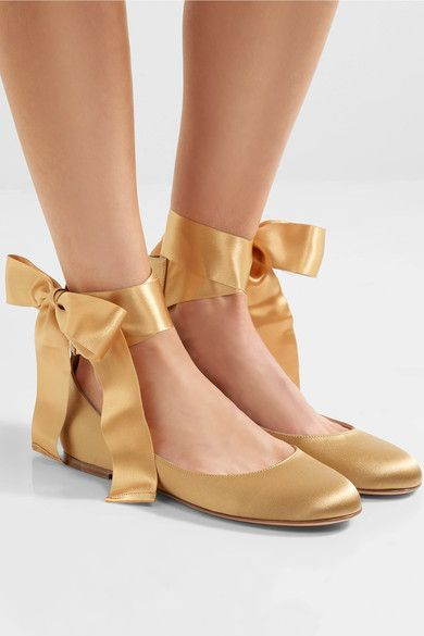 Slight heel Gold satin  Ties at ankle Made in Italy
