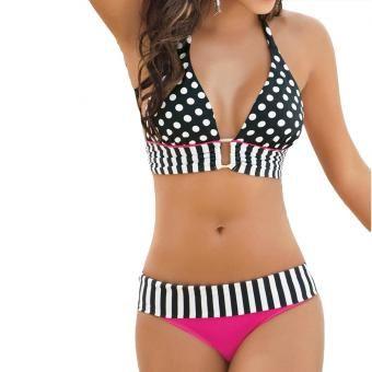 Vestido de Baño Bikini Halter de Puntos para Mujer Negro y Fucsia