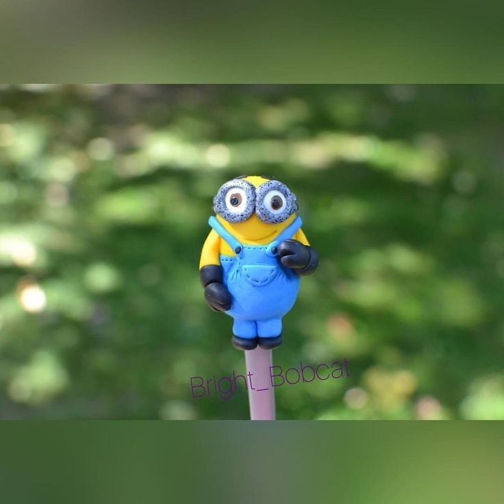 teaspoon minion hero popular cartoon, polymer clay fimo, exclusive handmade, exciting gift friend, contemporary art, lovely gift children by BrightBobcat on Etsy