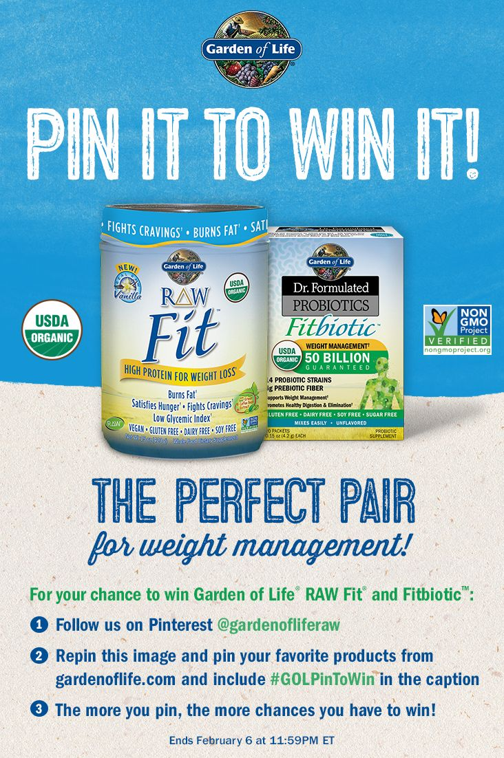 pin it to win it garden of life raw fit dr formulated fitbiotic