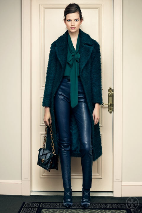 Tory Burch fall 2012Blouses, Fashion, Colors, Teal Leather, Tory Burch, Toryburch, Leather Pants, Coats, Leatherpants