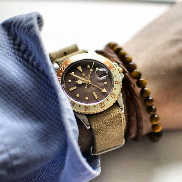 Style Tip:  Proper Men's Wrist wear.  Stack your beaded wrist wear with your timepiece(Rolex GMT)  ~~~ FOLLOW US ON PINTEREST for Style Tips, Men's Basics, Men's Essentials on anything, OUR SALES etc... ~ VujuWear
