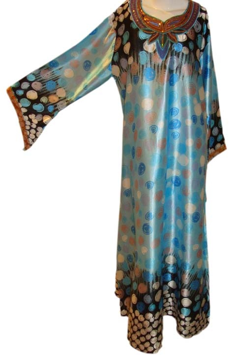 Printed Kimono Sleeves Caftan with Sequined Neckline