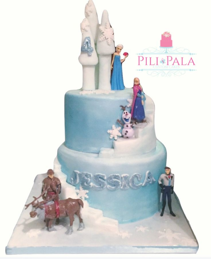 Frozen themed birthday cake with character figures