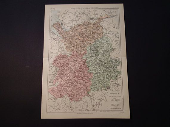Old map of Shropshire Stafford Cheshire county by DecorativePrints