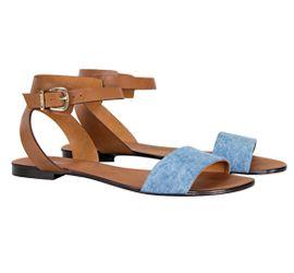 Rasteira com detalhe jeans para compor look confortável e moderninho!