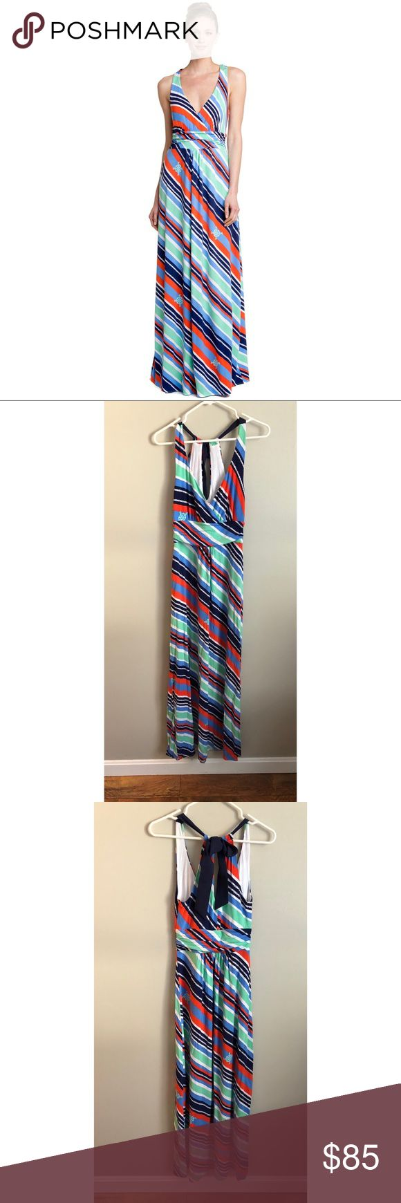 Lilly Pulitzer amada stripe nautical maxi dress Lilly Pulitzer amada stripe nautical maxi dress! Soft and comfortable bright striped maxi dress with nautical compass detail. Low v neck with tie back detail. Super cute and comfortable! In excellent condition, size xs. Lilly Pulitzer Dresses Maxi