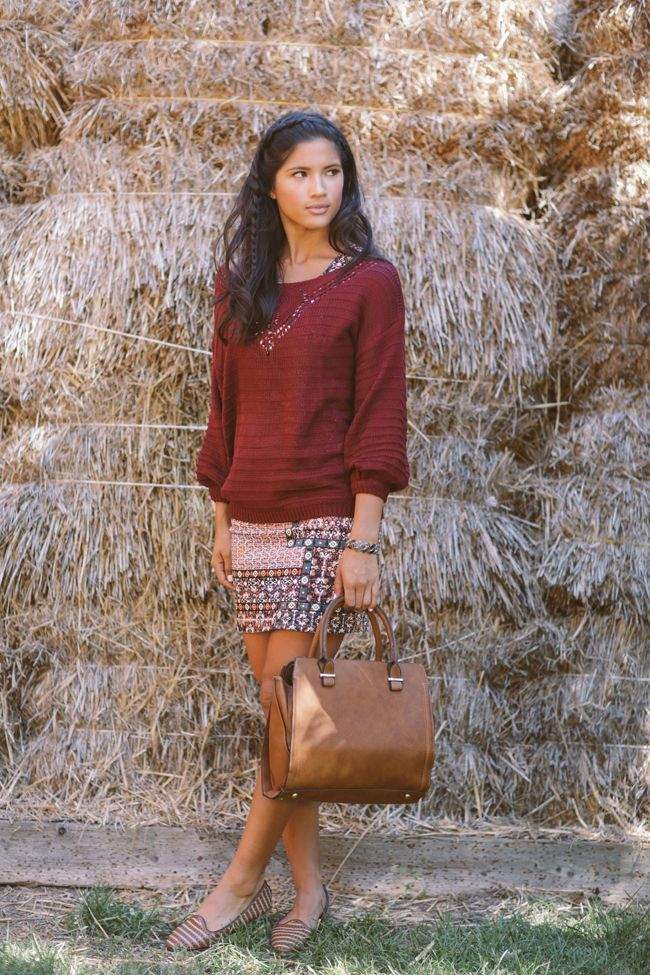 Layer a knit sweater over a dress for an easy transition into chilly fall  weather!