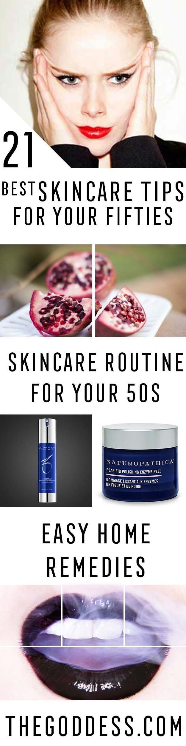 Best Skincare Tips for Your 50s -Check Out These Step By Step, Easy Anti Aging Routines and Skin Care Tips For Women. We Cover Essential Oils, Eye Creams, And Makeup Tips To Help You Stay Looking Younger To Keep That Beautiful Face And Beauty. Anti-Aging #skincareantiaginglookyounger