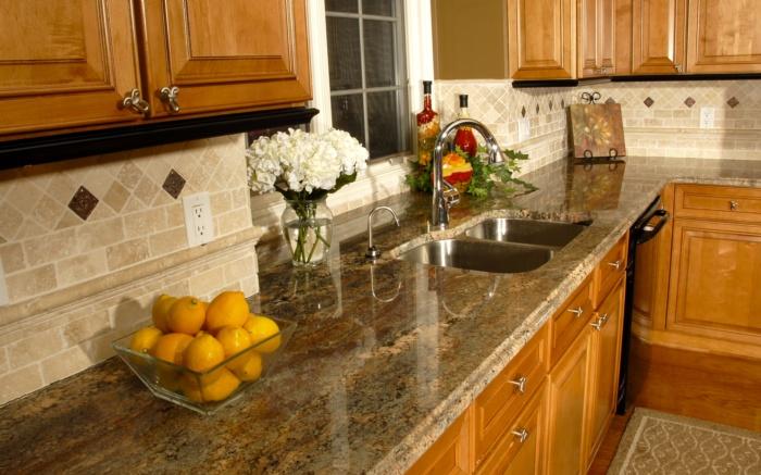 crema bordeaux granite and backsplash | kitchen inspiration