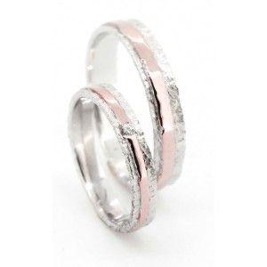 Anneau de mariage inventif gaufrée Duo Or Jaune et diamant
