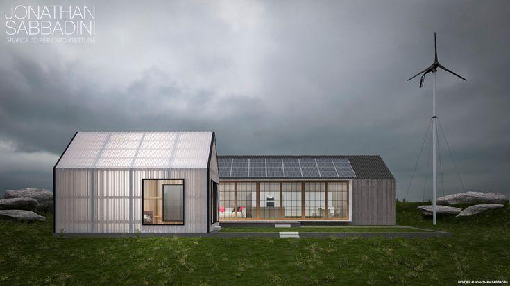 visualizzazione architettonica di architettura moderna con materiali particolari - © Jonathan Sabbadini Ticino