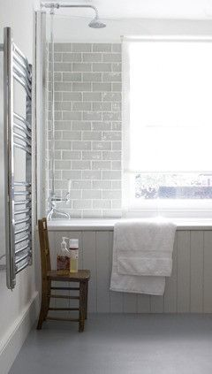 gray bath... love the idea of subway tile and beadboard