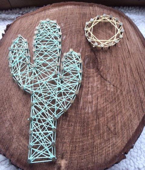Art de chaîne cactus mignon ! Cloué sur un pouce 2 bois épaisseur totale environ un pied jai diamètre.  Si vous avez un design différent à