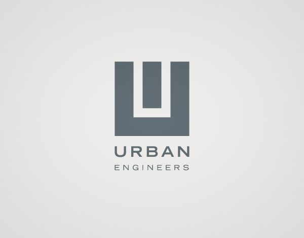 """Urban Engineers //// the Shape taking the form of """"U"""" which stand for urban in the logo gives a sense of a building or something being built. Nice logo"""