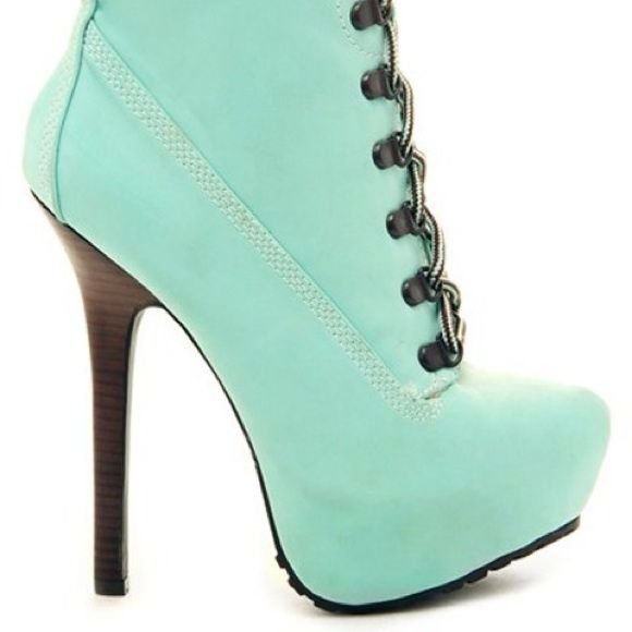 Limited Edt TIMBERLAND STYLE LACE UP ANKLE BOOTIES Limited Edition TIMBERLAND STYLE HIGH HEEL LACE UP ANKLE BOOTIES Introducing Limited Edition Colors! Channel your inner Beyoncé Bonnie & Clyde in these super sexy high heel show-Stopper Timberland Style Ankle Booties in Limited Edition Colors Mint Chocolate Chip!! MAKE AN OFFER!! UMBRELLA CLUB LA Shoes