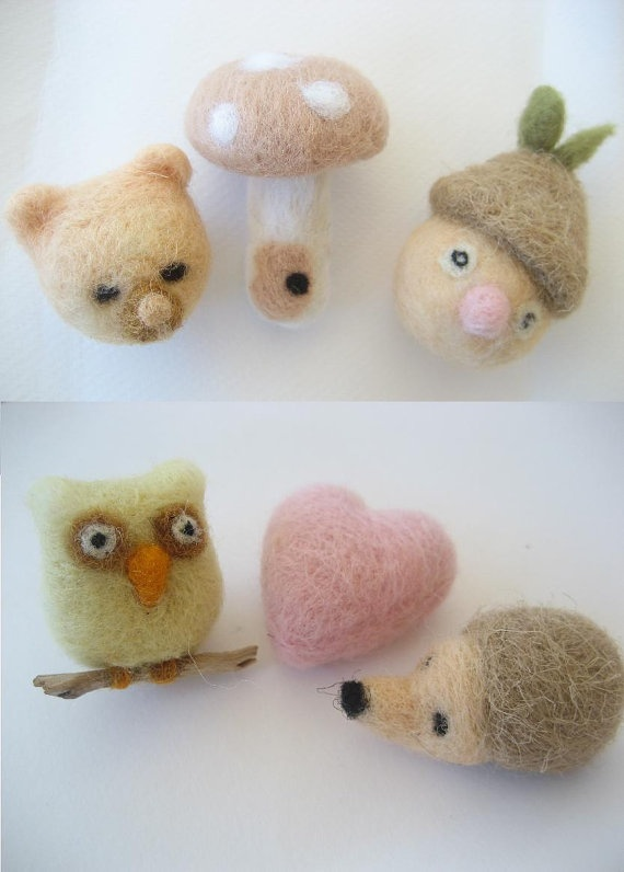 Needle felted magnets  Mr HedgehogMiss owl pink by feltstories, $20.00