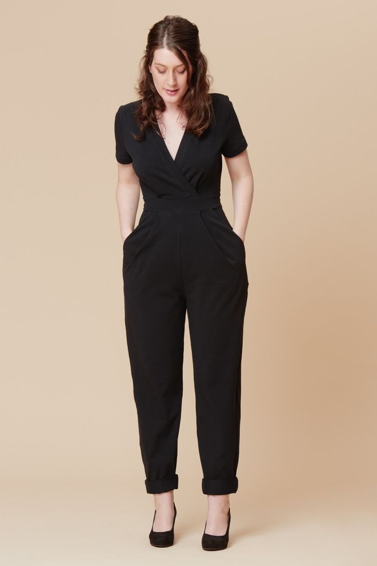 Mock-wrap knit jumpsuit with short set-in sleeves and pleated pants. Version A h…