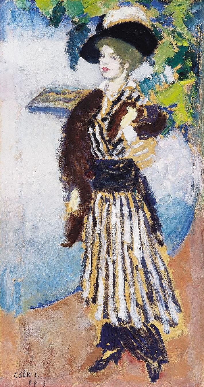 Csók István 1865-1961 Lady in Hat, 1914 67,5x36,5 - by Kieselbach Gallery