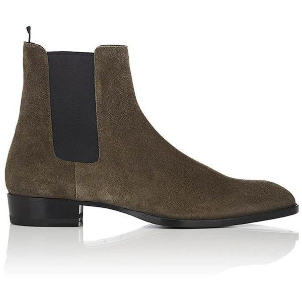 Saint Laurent Men's Wyatt Suede Chelsea Boots (12 250 ZAR) ❤ liked on Polyvore featuring men's fashion, men's shoes, men's boots, grey, mens grey suede boots, mens gray chelsea boots, mens gray boots, mens grey shoes and mens chelsea boots