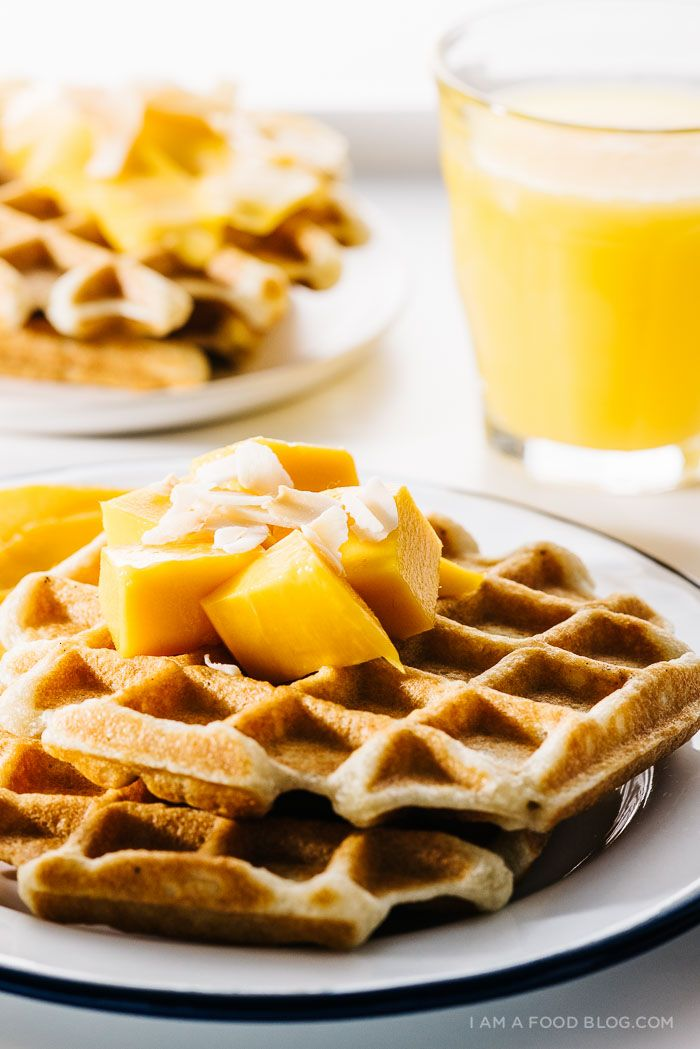 Mango coconut waffles — waffles with a delicious twist. | via www ...