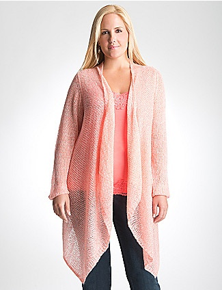 Lightweight but amazingly cozy, you'll love our open-stitch  cardigan. Versatile, soft and everything you love about sweater season, this trend features a long, asymmetric hem, open front and a subtle marled knit. A must-have for layering! lanebryant.com