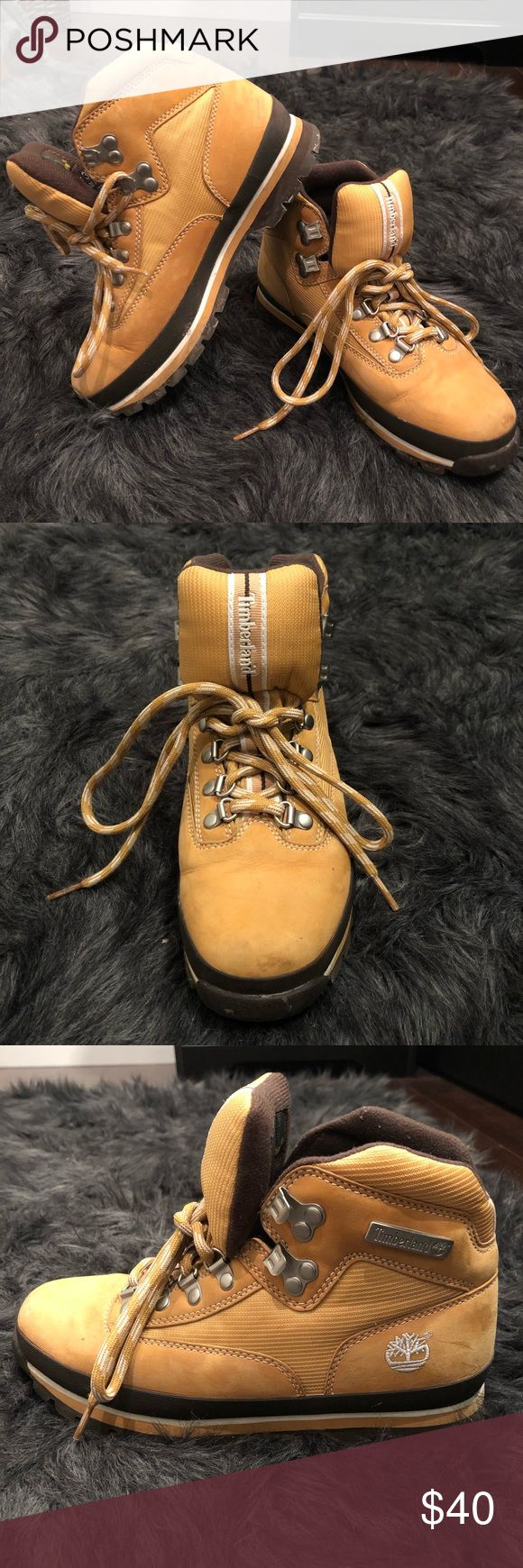 Women's Timberland Hiking Boots Women's Timberland Hiking Boots, Size 8M. Genuine leather and man-made upper outsole. Great traction and warmth. Timberland Shoes Combat & Moto Boots