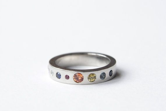 Planet Ring Precious Stones Silver or Gold Eternity by RockCakes