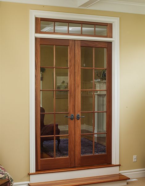 Cherry Double Door, 10 Lite Doors With 5 Lite Transom