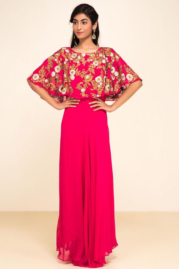 ZAYAH Pink Cape Style Gown #flyrobe #wedding #weddingoutfit #flyrobeweddings #receptionoutfits #designerwear #designergown #receptiongown