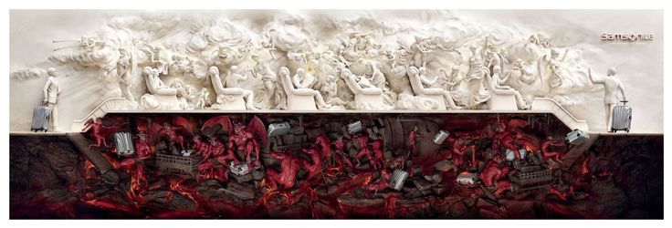 Read more: https://www.luerzersarchive.com/en/print-ad-of-the-week/2011-26.html Samsonite Heaven and Hell Tags: Jorge Pablo Quiroz,Colgate-Palmolive,Cine 70,Natalia Iriarte,Gino  Bernabè,André Toledo,Young & Rubicam (Y&R), Lima