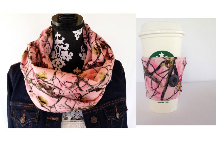 Realtree Pink Camo Infinity Scarf Matching Coffee Cup Sleeve Gift Set, Pink Camo Scarf, Realtree Pink Camo Scarf, Camo Scarves by CountryStitched on Etsy