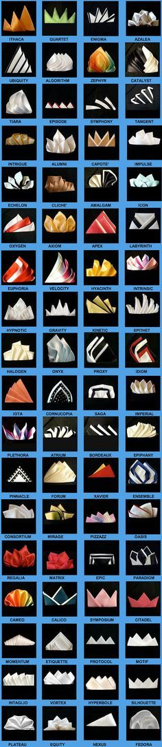 Really who has time to come up with these let alone name them? - 72 ways to fold a pocket square More