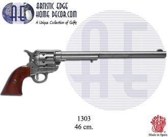 """Denix Replica .45 caliber Peacemaker revolver 12"""", designed by Samuel Colt, USA 1873."""
