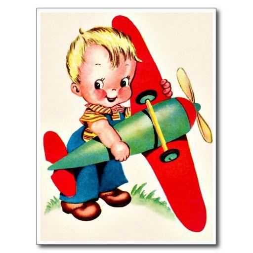 """Little Boy met Vliegtuig - Retro Gelukkige Verjaardag De vintage Retro Kaarten van de Verjaardag voor alle leeftijden.   De grappige, Leuke, Gelukkige Kaarten van de Verjaardag voor kinderen, meisjes en jongens, mamma's en dads, grootmoeder en grootvader, broers en zusters, tantes en ooms, neven… en voor vrienden.  Alle kaarten zijn hersteld, de hersteld de smetten, vlekken en de scheur. Personaliseer als u door te gebruiken """"aanpast het"""" knoop dit wenst. Wij hopen u van ons collectie…"""