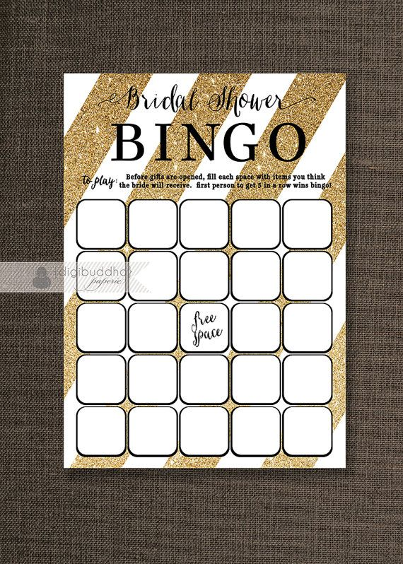 Gold Glitter Bridal Shower Bingo INSTANT DOWNLOAD bridal shower game by digibuddhaPaperie Available at digibuddha.com