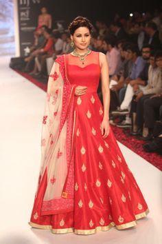 red floor length dress by neeta lulla - Trendseve.com