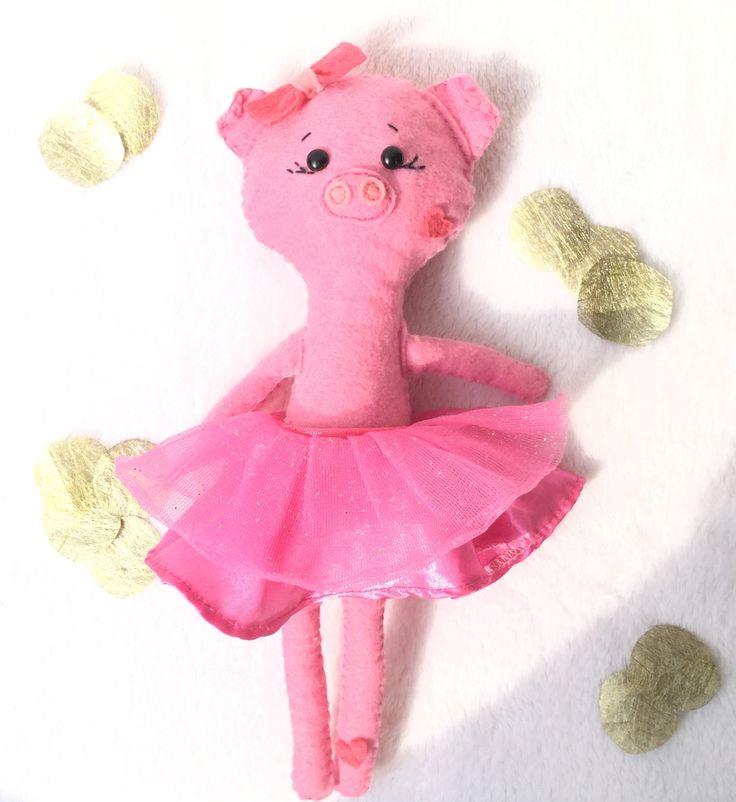 Balerina pig doll, felt pig doll, kawaii pig by TadiDesigns on Etsy